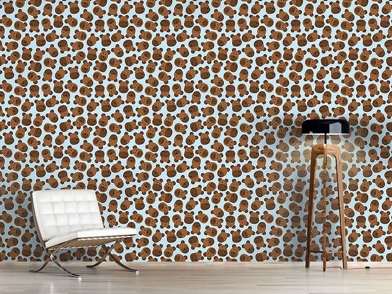 Pattern Wallpaper Mister Bear Blue
