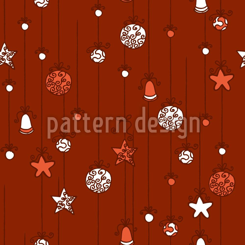 Pattern Wallpaper Christmas Tree Decorations Red