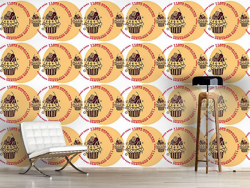 Pattern Wallpaper Cupcake Love Cream