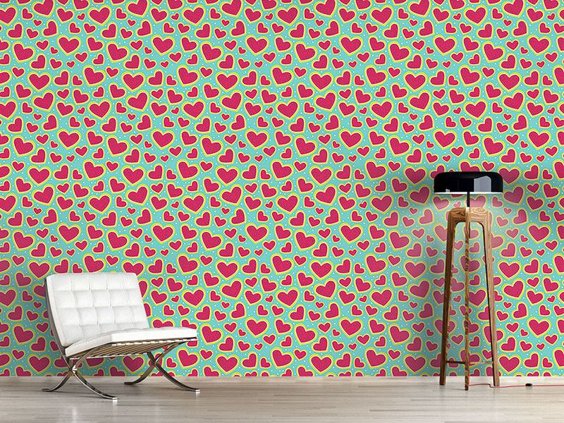 Pattern Wallpaper I Am So Wild About Your Strawberry Heart