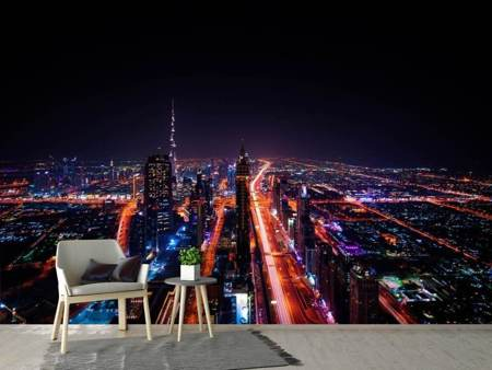 Photo Wallpaper The colorful lights of Dubai