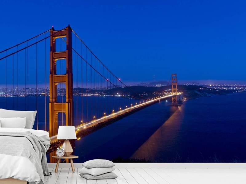Photo Wallpaper Golden Gate at night