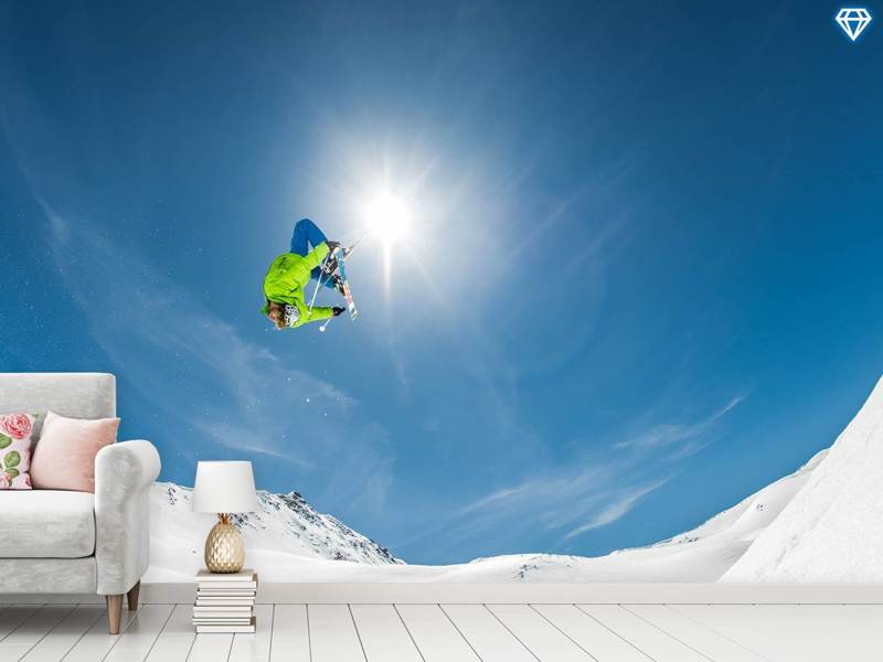Fototapete Backflip Crossed Skis