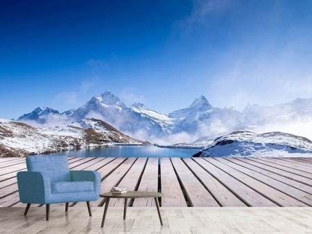 Photo Wallpaper Sundeck At The Swiss Mountain Lake